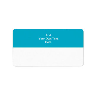Teal with white area and text. address label