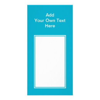 Teal with white area and text photo card template