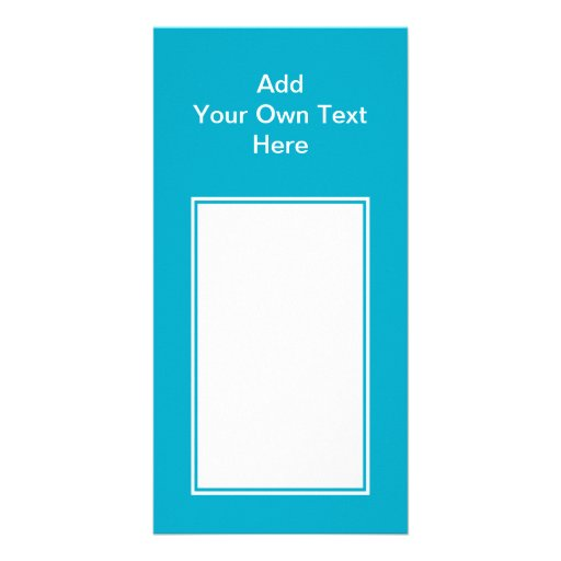 Teal with white area and text. photo card template