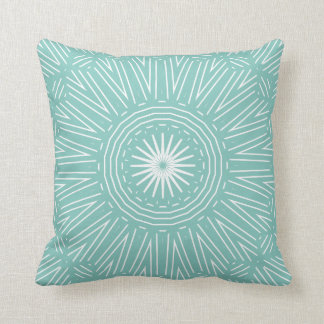 Teal with White Geometric Throw Pillow