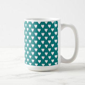 Teal with White Polka Dot Hearts Mug