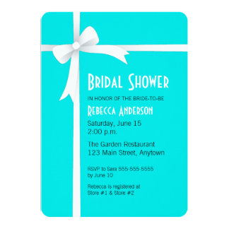 Teal with White Ribbon & Bow Bridal Shower 13 Cm X 18 Cm Invitation Card