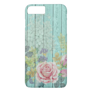 Teal Wood Effect Pink Roses Floral Bouquet iPhone 8 Plus/7 Plus Case