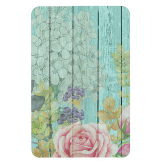 Teal Wood Effect Pink Roses Floral Bouquet Magnet