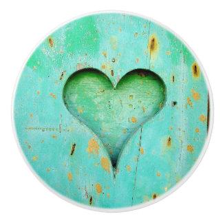 Teal Wood Rustic Heart Knob