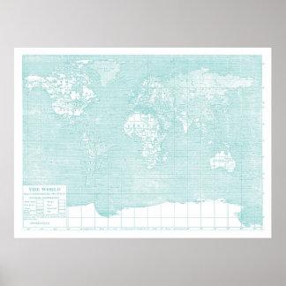 Teal World Vintage Map Poster