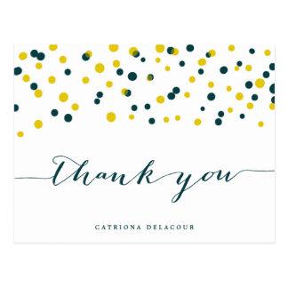 Teal & Yellow Confetti Dots Modern Thank You Postcard