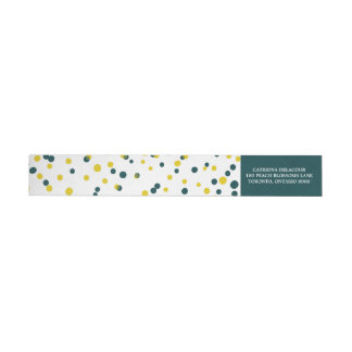 Teal & Yellow Confetti Dots Modern Wraparound Return Address Label