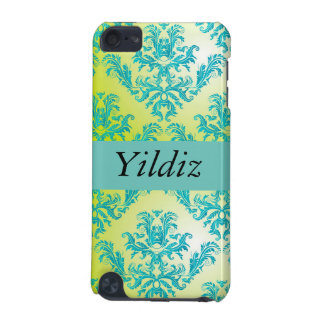 Teal Yellow Damask Print Pattern Design iPod Touch 5G Cases