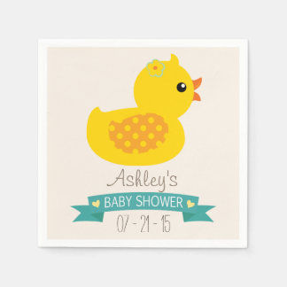 Teal & Yellow Duckling, Duck; Baby Shower Disposable Serviettes