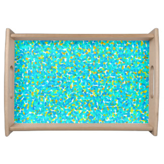 Teal Yellow Green Blue Black Abstract Pattern Service Trays