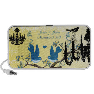 Teal & Yellow Vintage Love Birds Black Chandelier PC Speakers