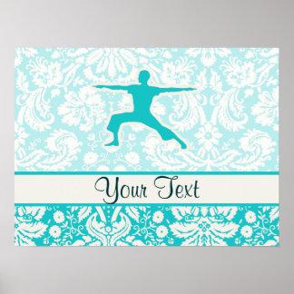 Teal Yoga Poster