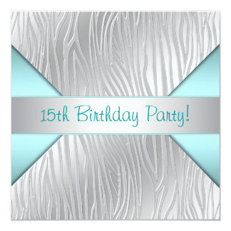 Teal Zebra Elegant 15th Birthday Invitation
