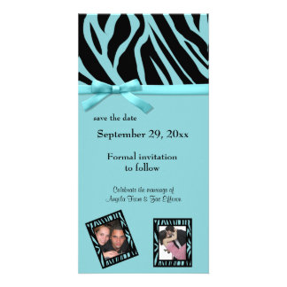 Teal Zebra Save The Date Announcement Personalised Photo Card