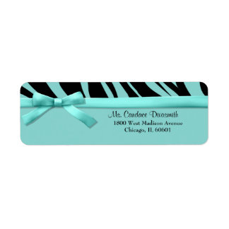 Teal Zebra Stripes With Matching Ribbon