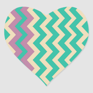 Teal Zigzags With Purple Border Heart Sticker