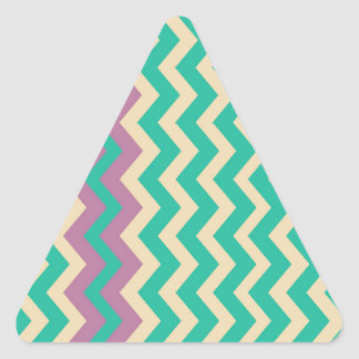 Teal Zigzags With Purple Border Triangle Sticker