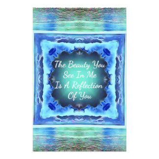 Teals Blue Friendship Beauty Reflection Quote Custom Stationery