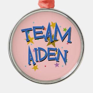 Team Aiden! Silver-Colored Round Decoration
