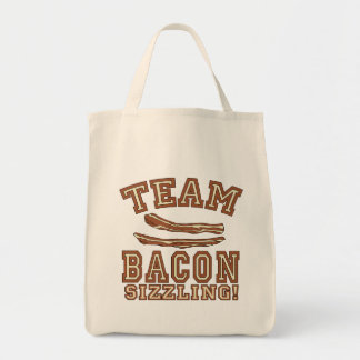 TEAM BACON is SIZZLING Tshirts, Mugs, Gifts Grocery Tote Bag