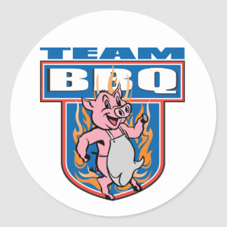 Team BBQ Pork Classic Round Sticker