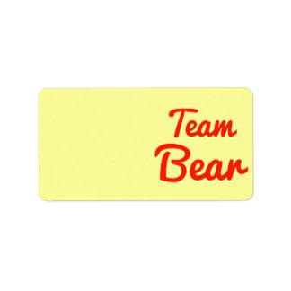 Team Bear Address Label