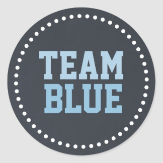 Team Blue Chalkboard Baby Gender Reveal Classic Round Sticker
