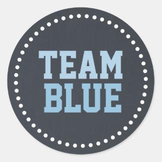 Team Blue Chalkboard Baby Gender Reveal Round Sticker