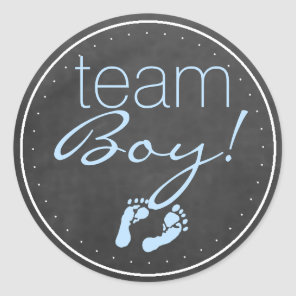 Team Boy Chalkboard Look With Blue Classic Round Sticker