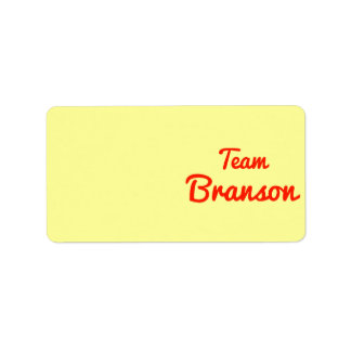 Team Branson Address Label