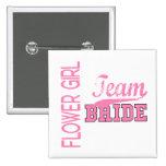 Team Bride 1 FLOWER GIRL 15 Cm Square Badge