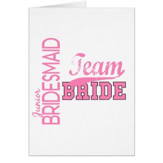 Team Bride 1 JUNIOR JR BRIDESMAID Greeting Card