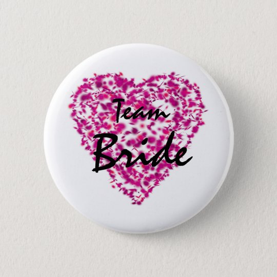 Team Bride Abstract Paint Love  Button