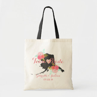 Team Bride Alaska State Wedding Floral Bridesmaid Tote Bag