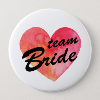 Team Bride Badge | watercolor heart