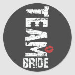 Team Bride Big Grunge Text Classic Round Sticker