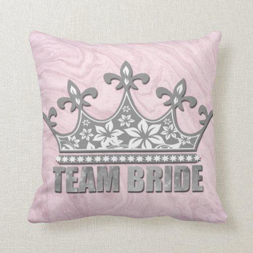 Team Bride Bridal Wedding Bridesmaid Silver Crown Cushion