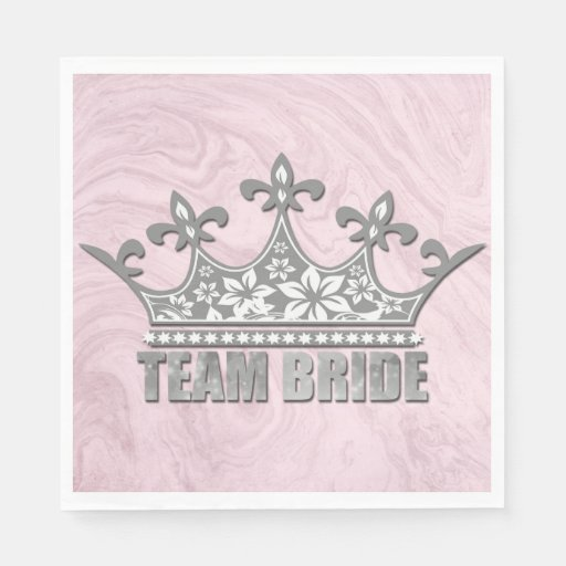 Team Bride Bridal Wedding Bridesmaid Silver Crown Disposable Napkin