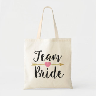 """Team Bride"" Bridesmaid Glitter-Print Black Tote Bag"