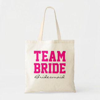 Team Bride bridesmaid personalized hot pink2 Tote Bag