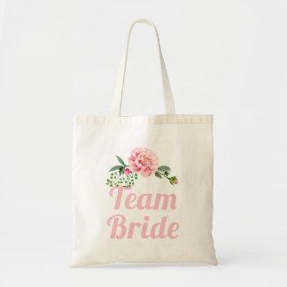 Team Bride Bridesmaid Romantic Pink Rose Floral Tote Bag