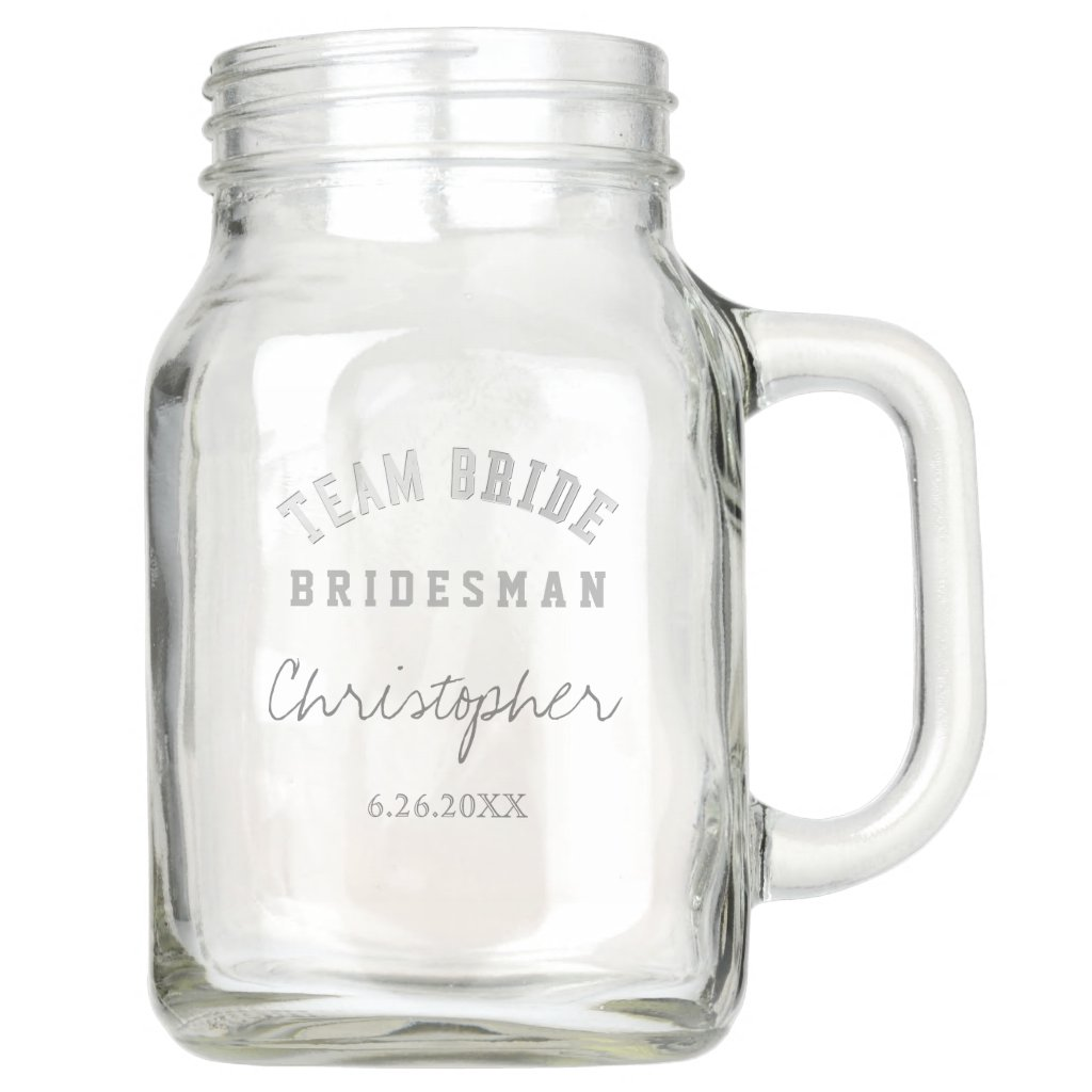 Team Bride Bridesman Personalised Mason Jar