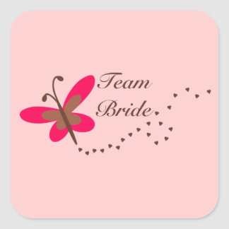 Team Bride (butterfly) Square Sticker
