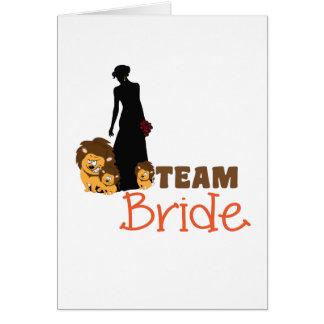 Team bride - cartoon lions greeting cards