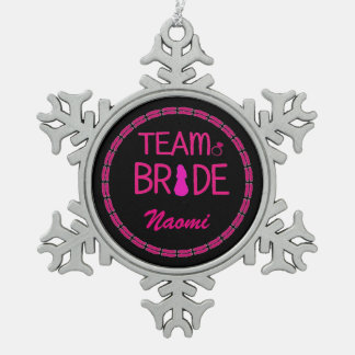Team Bride - Custom Bridesmaid Gifts Pewter Snowflake Decoration