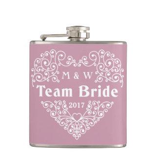 Team Bride custom text flask