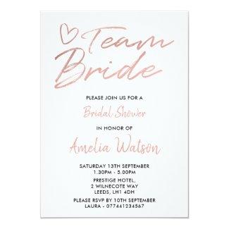 Team Bride Faux rosegold bridal shower invite