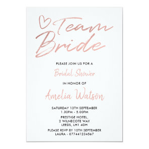 Team Bride Faux rosegold bridal shower invite