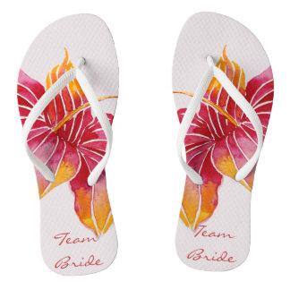 Team Bride | Floral Hawaiian Flip Flops